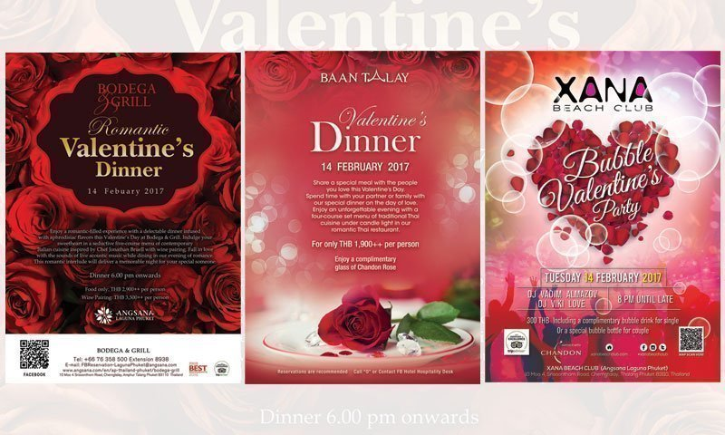 Three Romantic Dining Destinations on Valentine's Day at Angsana Laguna Phuket