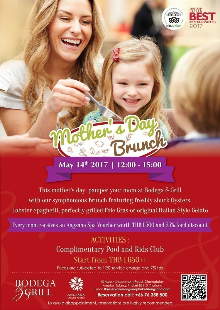 Celebrate Mother's Day with Special Brunch at Bodega & Grill by Angsana Laguna Phuket