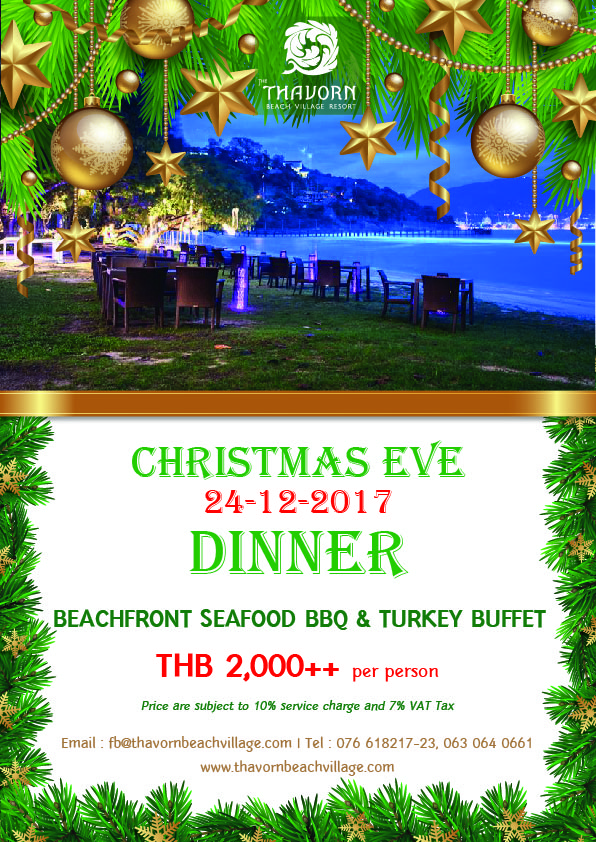 Join us on our Christmas dinner 2017! - Thavorn Beach Village Resort