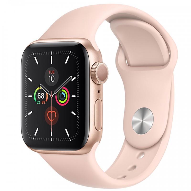 Apple Watch Series 5 GPS, 44mm viền nhôm vàng dây cao su hồng MWVE2VN/A