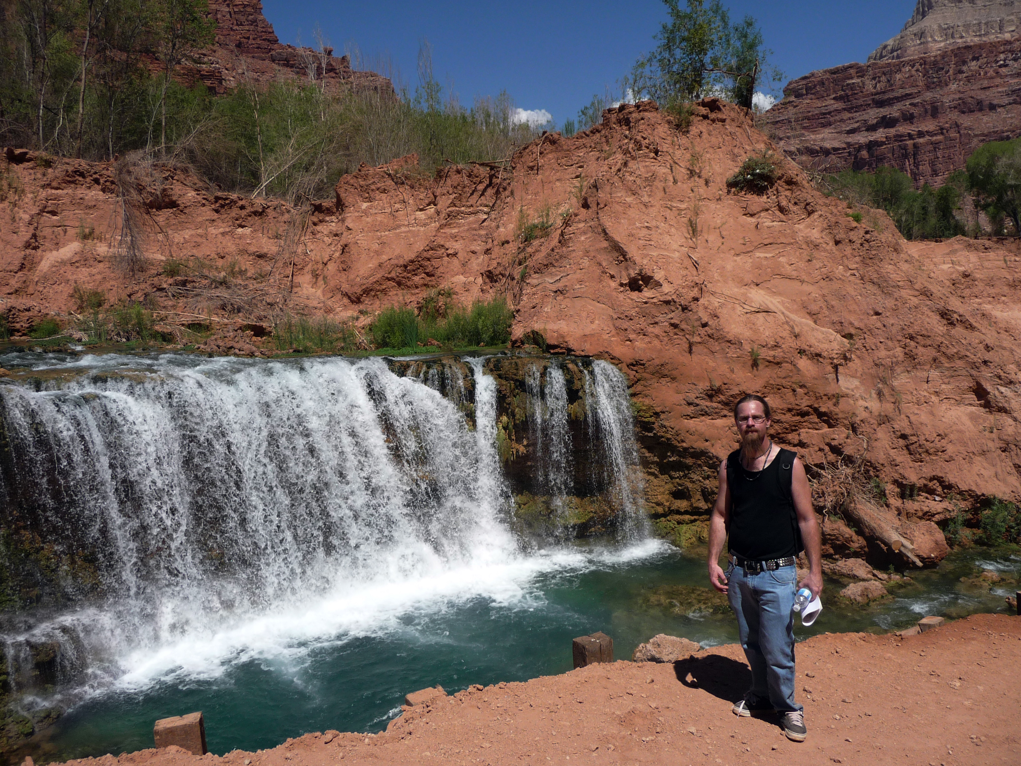 Carl in front of Havasu Falls