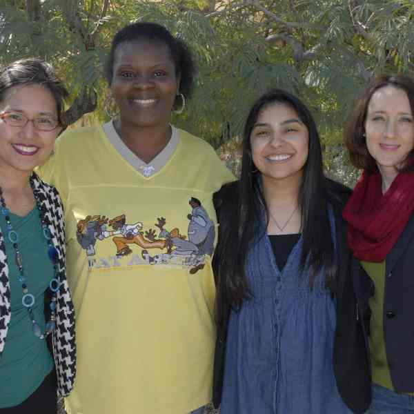 Amy Ciaramella, Nubian Thompson, Danielle Savedra, and Sandy Lunde celebrate our sister Dani's restoration!