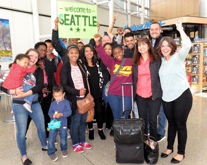 The Seattle Disciples give a warm welcome at the airport to the McKeans and scores of others from the West Coast!