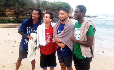 Scotty (second from the right) is Samoan and the first male Islander convert!