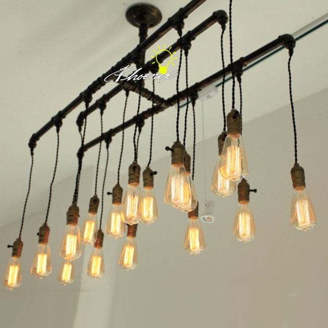 Handmade Pipe And Edison Bulbs Chandelier 8823 Shipping