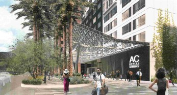 Rendering of the proposed AC Marriott, looking South along 5th Street.