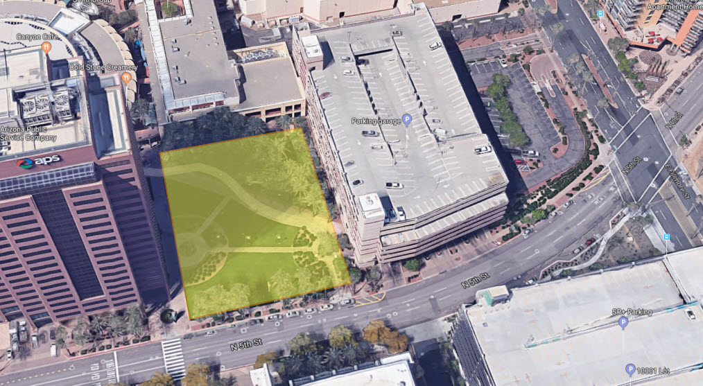 Proposed location of the AZ Marriott Hotel at the Arizona Center