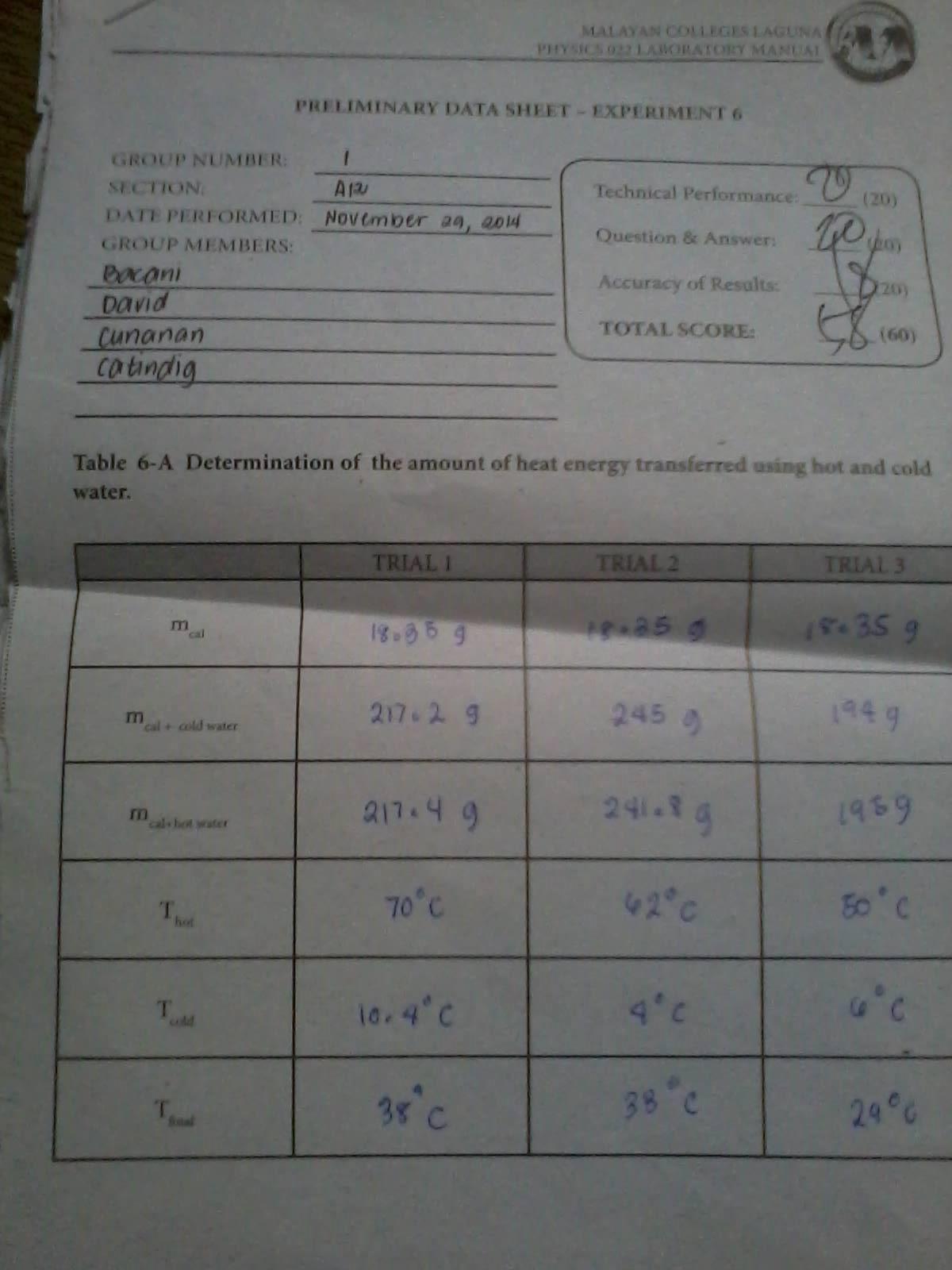 Experiment 6 Heat And Calorimetry