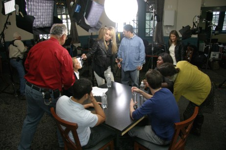 Katie Couric and Gabourey Sidibe prepare for a sit down interview along with two guests.