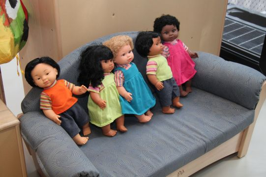 The dolls reflects the diversity of the children in the center.