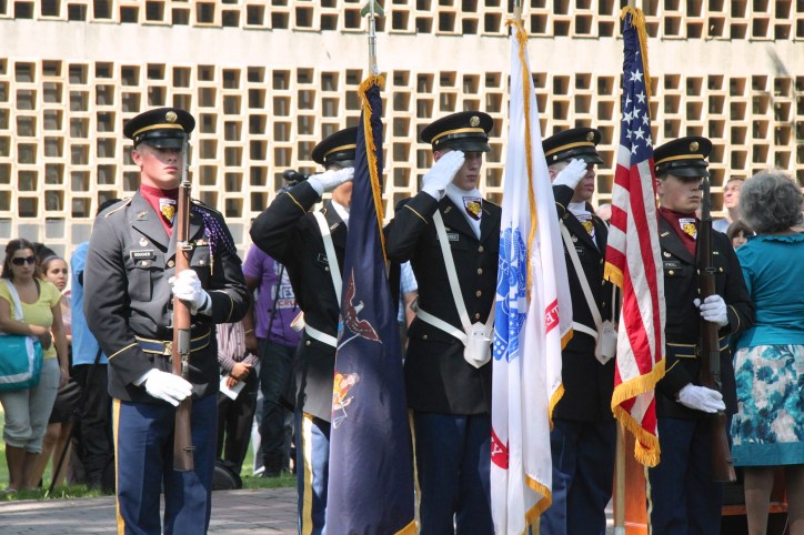 Army ROTC Color Guards from Fordham University perform at the 9/11 memorial service.