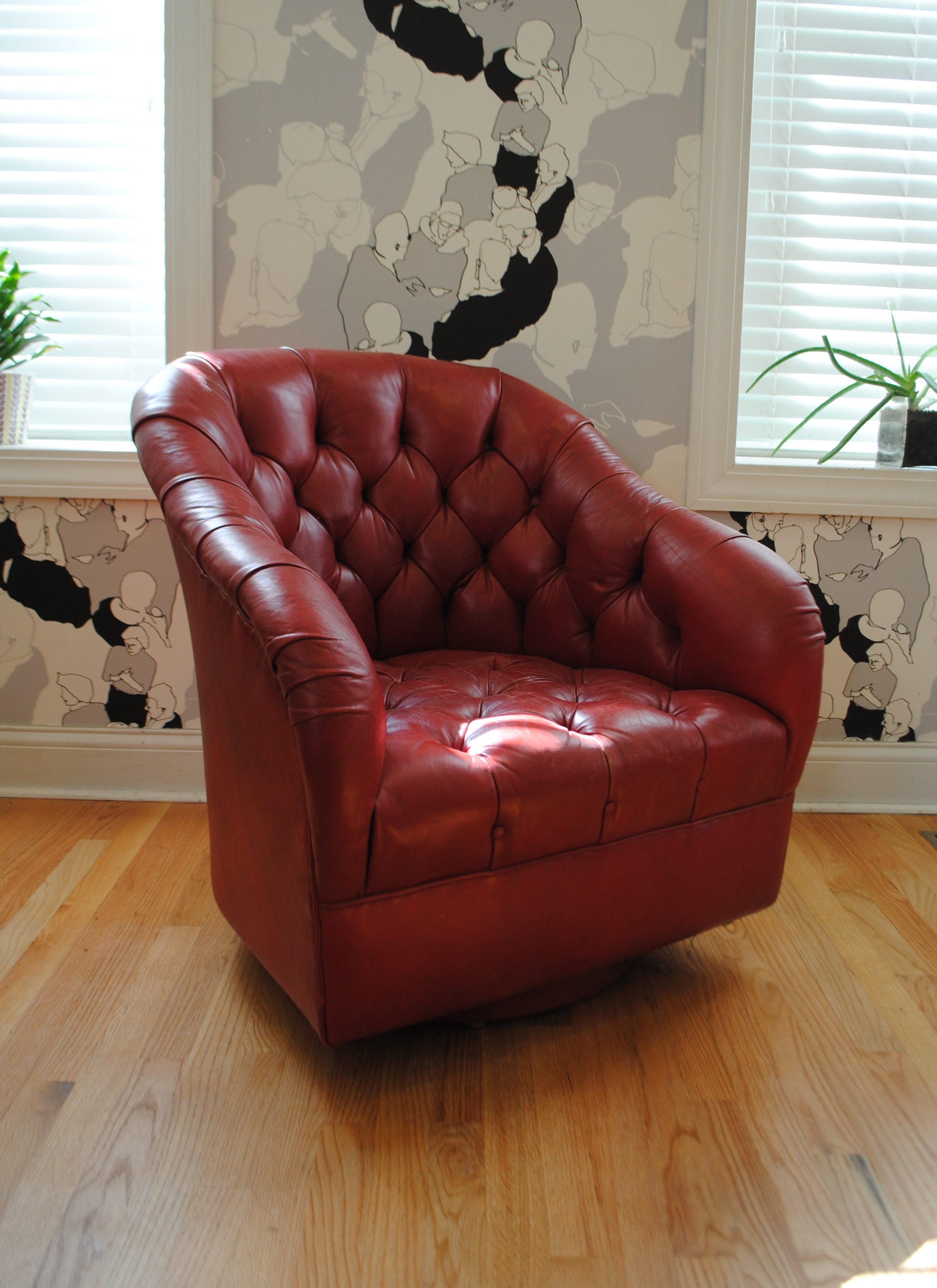 leather swivel chair black covers ebay ward bennett red club | phylum furniture