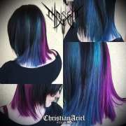 purple and teal blue hair pale