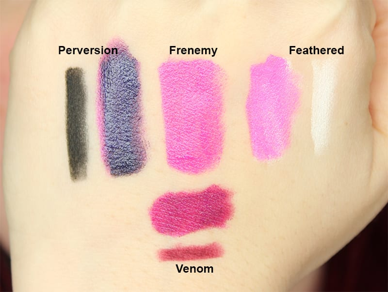 Increase the number of lip colors that you have to wear by investing in a very dark lip pencil shade (like UD Blackmail or Perversion) and a very light shade (like OCC Feathered). You can even choose a midtone shade like UD Venom. This will allow you to triple the size of your collection. If you're still feeling bored with your lipsticks, pop a lip safe eyeshadow on the center of your lips (either a shimmery but subtle shade like UD Cosmic, an iridescent shade like Sugarpill Lumi or a glittery shade like Fyrinnae Dinosaur Plushie) to change things up. Or just use the new Urban Decay Vice Special Effects Lip Topcoats.