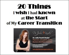 "Dr. Julia Kinder ""20 Things I Wish I Had Known"" for Physician Career Change - Free Download"