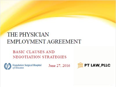 Presentations   Houston Physician Contract Lawyer