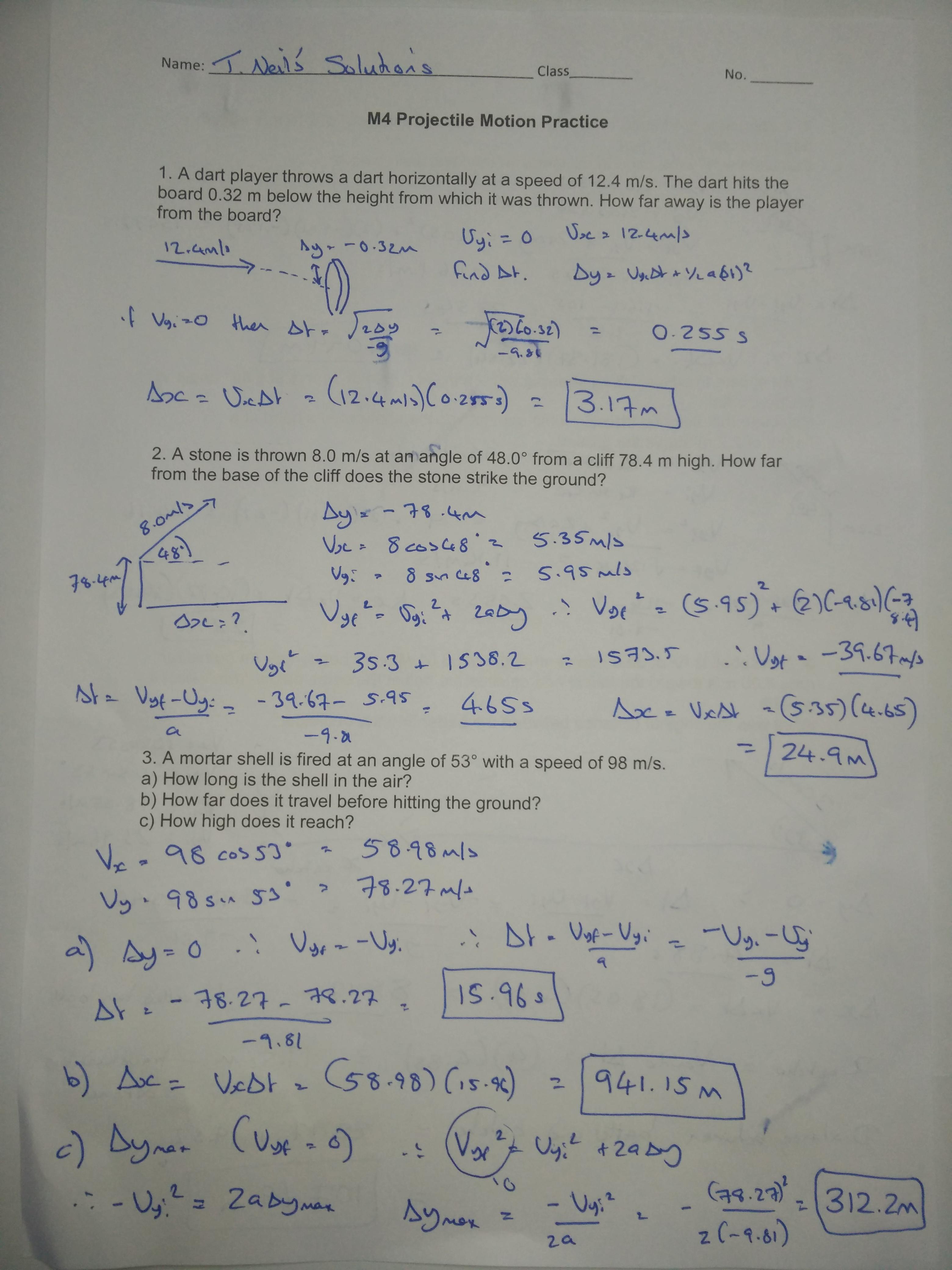 34 Projectile Motion Practice Worksheet