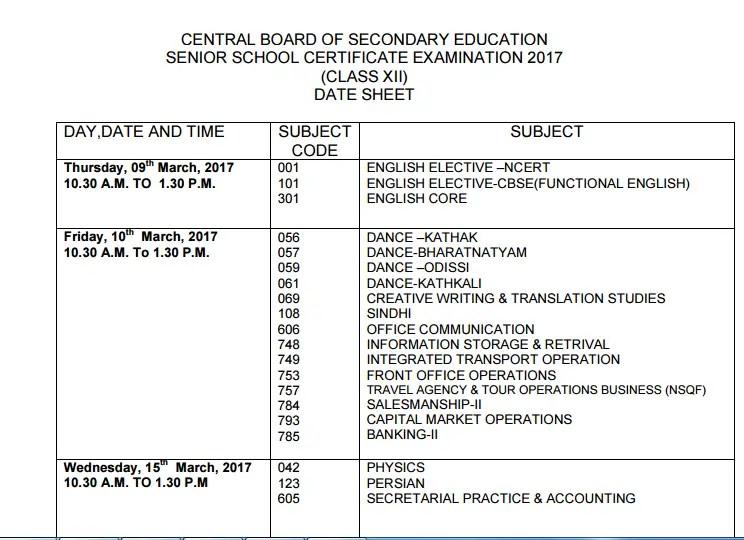CBSE Exam Date Sheet 2017