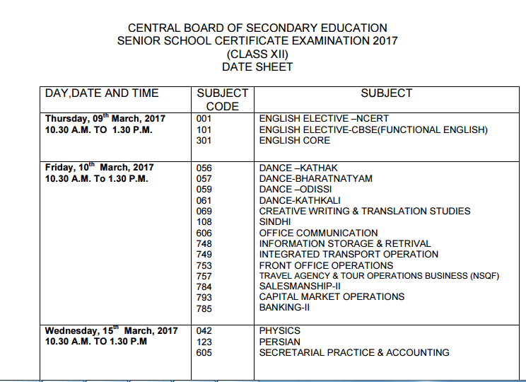 Cbse 12th Time Table 2016 Pdf