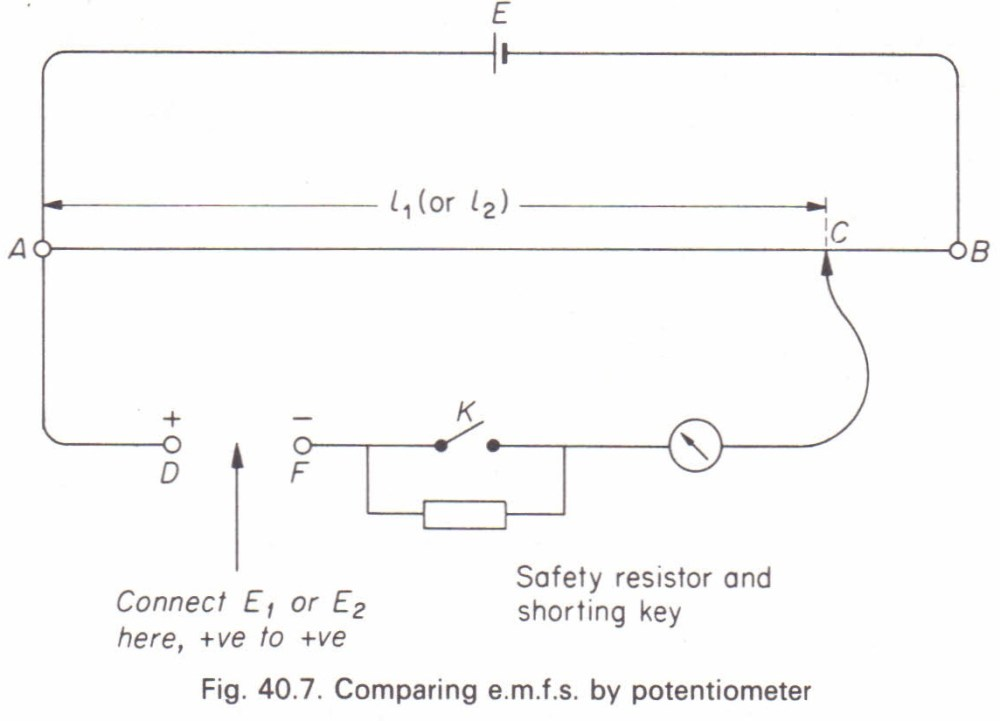 medium resolution of to compare the e m f s of two cells by using a potentiometer