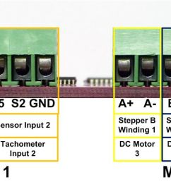 each motor connector can drive two dc motors for a total of 4 motors per board the pictures and images below illustrate how these connections should be  [ 1706 x 462 Pixel ]