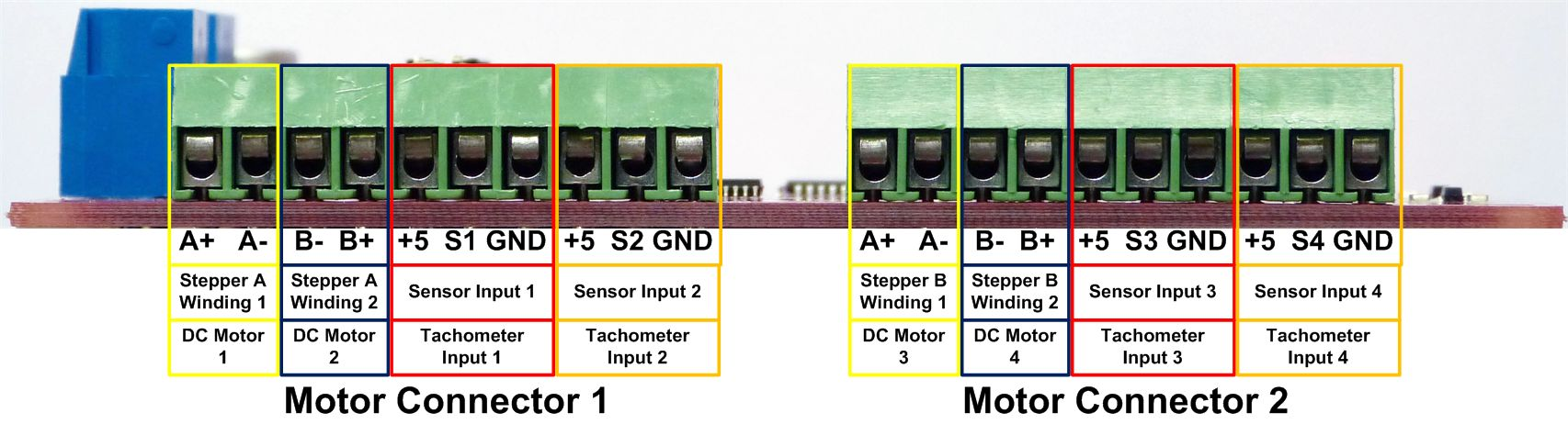 hight resolution of each motor connector can drive two dc motors for a total of 4 motors per board the pictures and images below illustrate how these connections should be