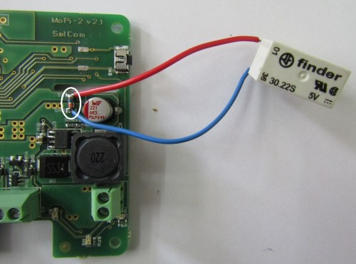 small resolution of it has to be soldered to the pads labeled ext rly follow the pads polarity and the picture below the electrical diagram of the relay circuit is also given