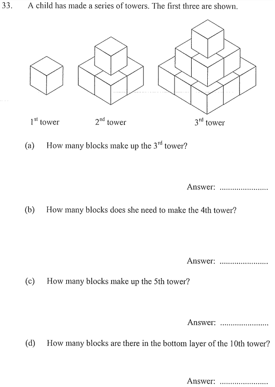 square numbers Questions Collected From 11+ papers