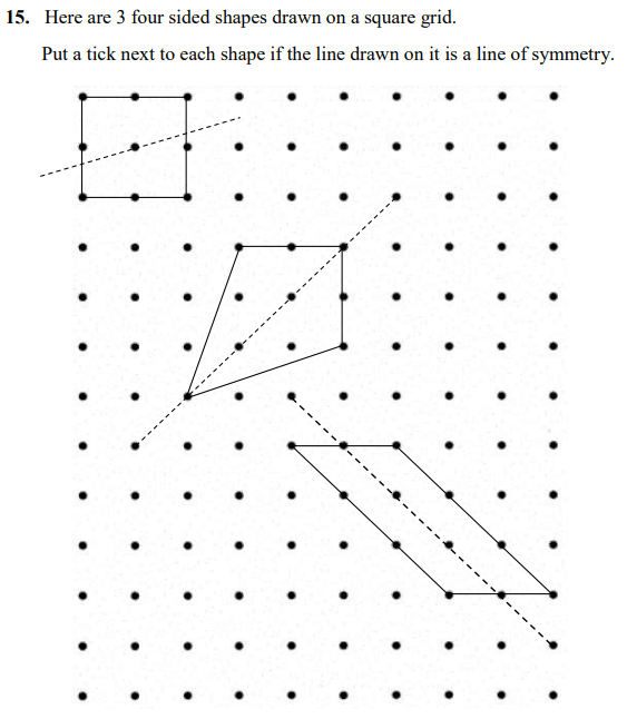 Line symmetry Questions Collected From 11+ papers