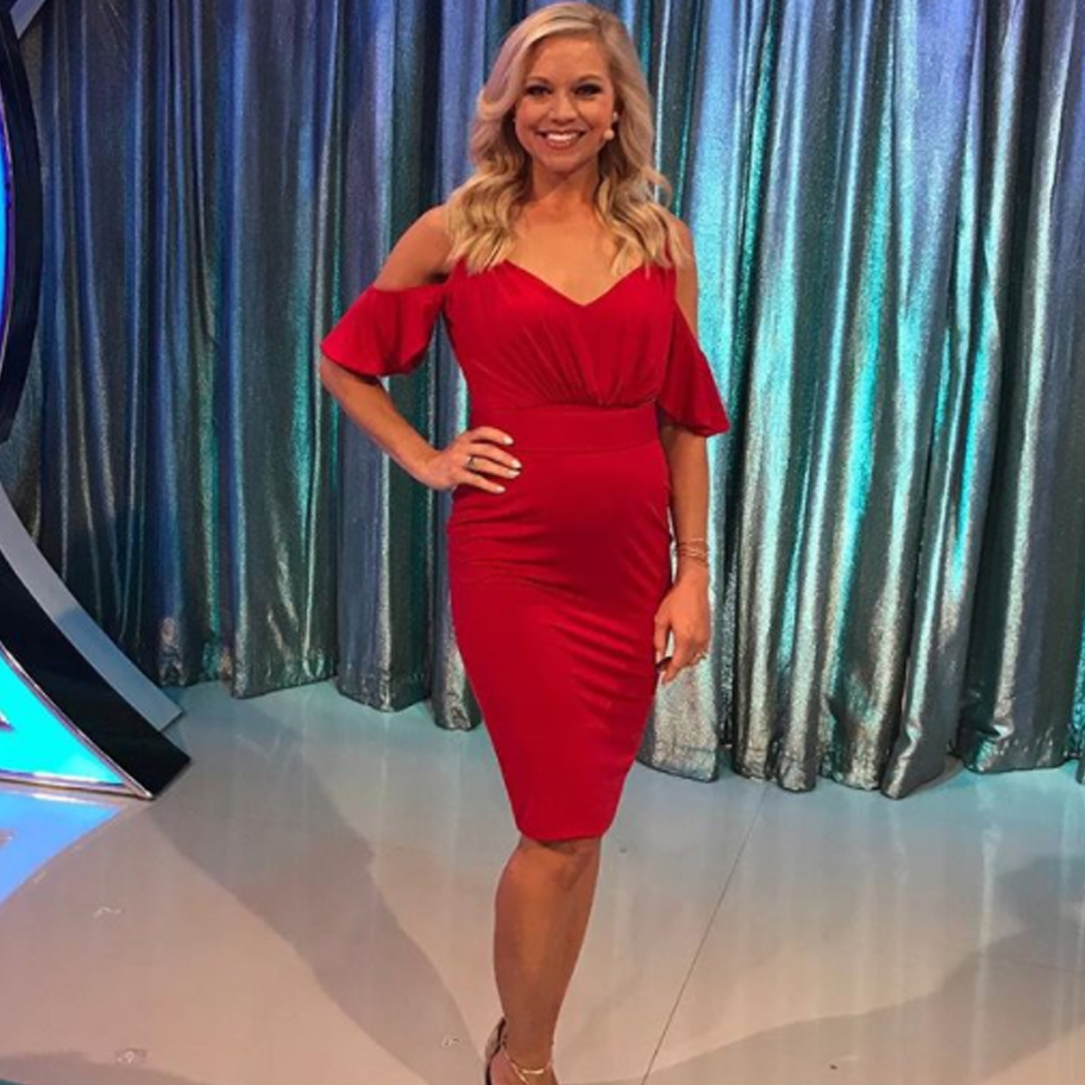 Tiffany Coyne showing off her baby bump in our odessa dress during lets make a deal of CBS