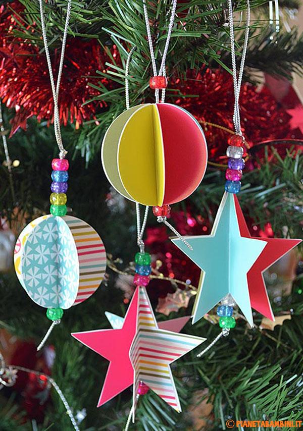 Decorazioni Albero di Natale Fai Da Te Stelle e Palline Colorate  PianetaBambiniit