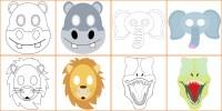 Maschere di Animali da Colorare e Costruire per Bambini ...