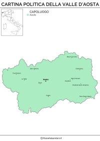 Cartina Muta, Fisica e Politica della Valle d'Aosta da ...