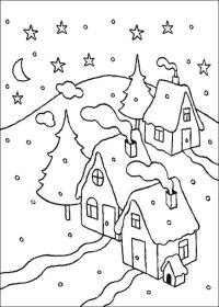 21 Disegni di Paesaggi Invernali da Colorare ...