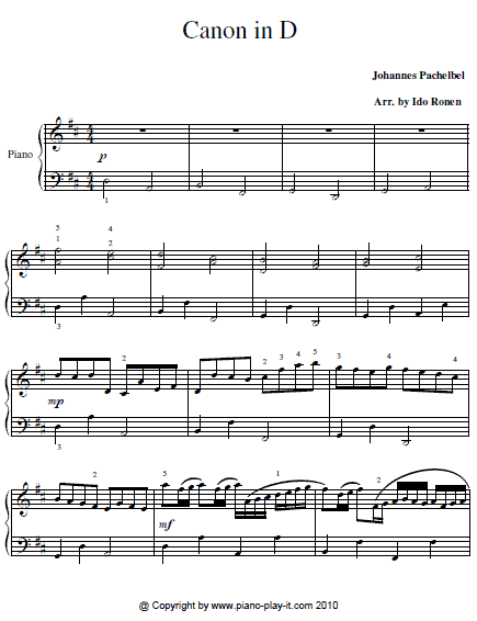 Canon In D Piano Sheet Music Free Printable : canon, piano, sheet, music, printable, Canon, Piano, Sheet, Music