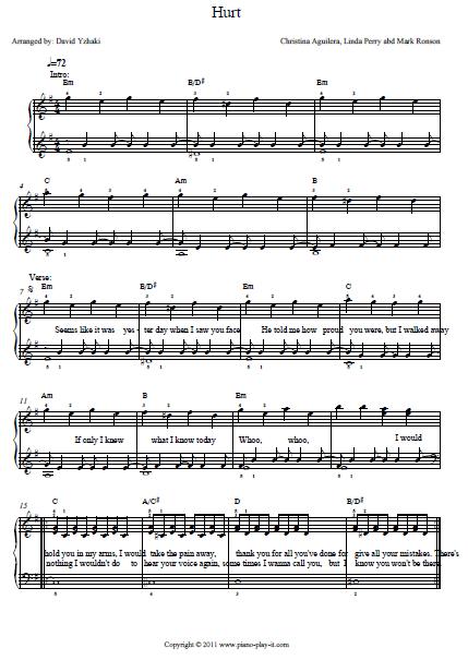 Hurt Piano Chords : piano, chords, Christina, Aguilera, Piano, Tutorial