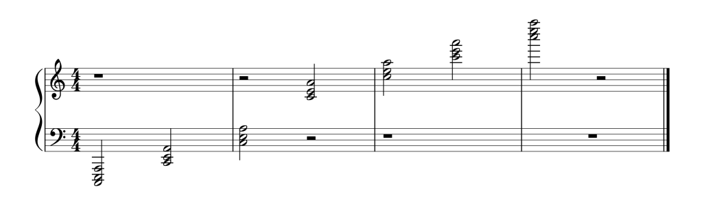 Sheet music showing all seven A Minor chords in first inversion from low to high