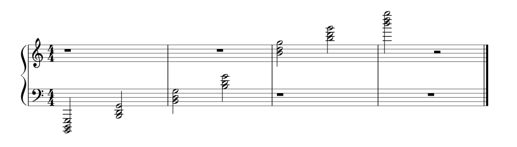 Sheet music showing all seven G chords in first inversion from low to high