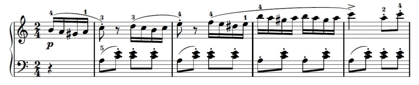 Turkish March Piano Sheet Music - First Line