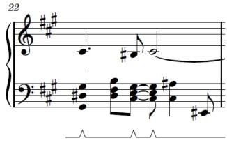Wii Theme Piano Sheet Music - Last Line - First Bar - G#sus, B, C