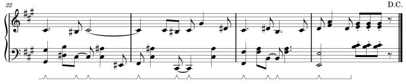 Wii Theme Piano Sheet Music - Last Line