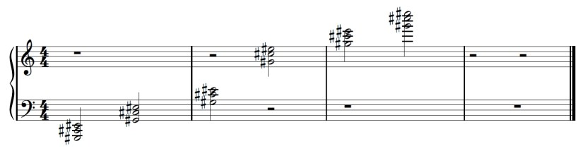 Sheet music showing all six C sharp chords in second inversion from low to high