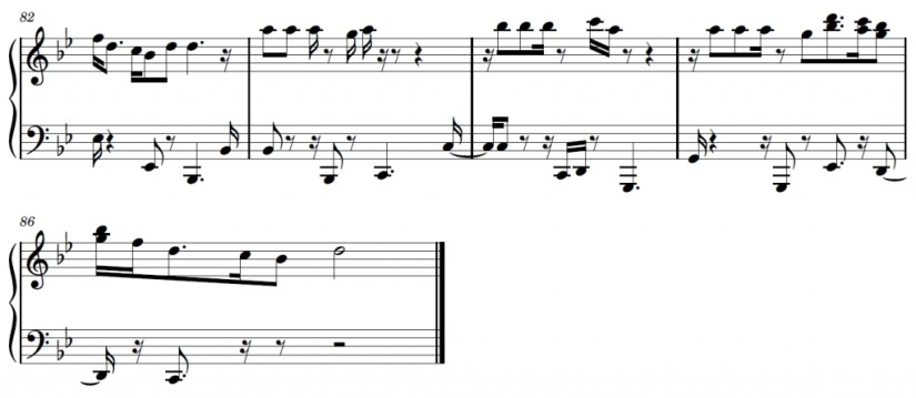 Lost In Japan Piano Sheet Music - Ending