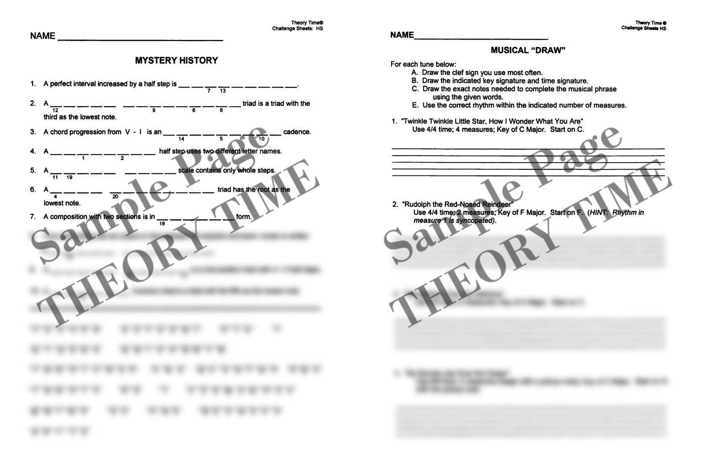Theory Time® Reproducible Series: Challenge Sheets for