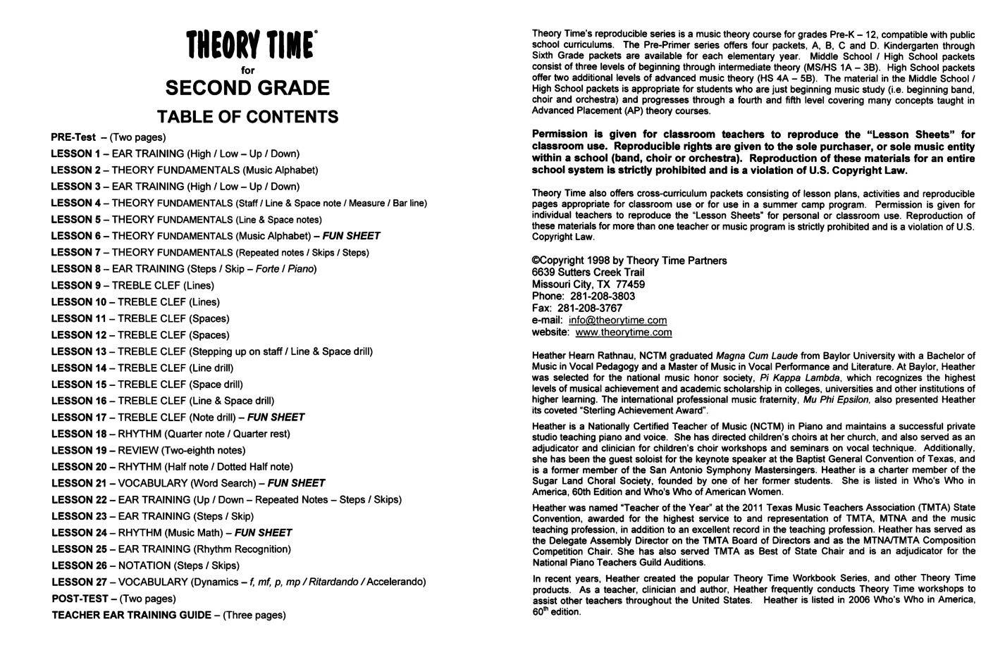 hight resolution of Theory Time® Reproducible Series: Second Grade Pack   Workbook   Piano  Pronto Publishing