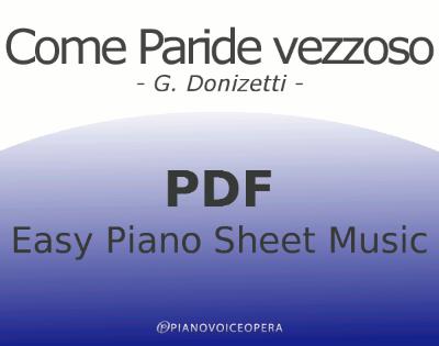 Come paride vezzoso Easy Piano Sheet Music