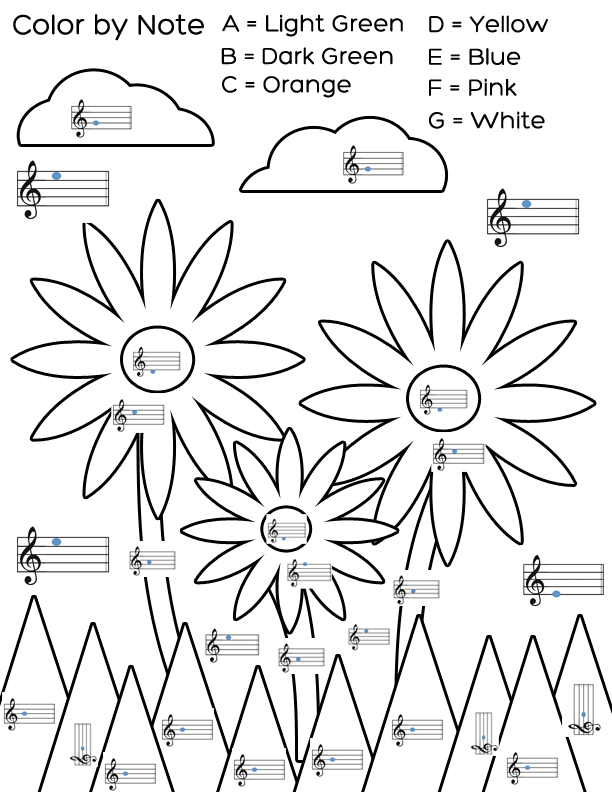 Free Piano Theory Coloring Sheets