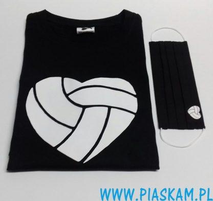 koszulka i maseczka siatkówka serce logo