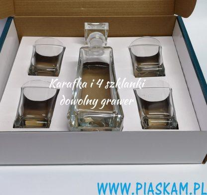 karafka skośna 4 szklanki grawer w kartonie