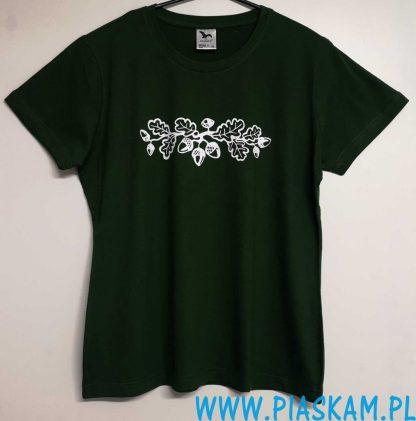 koszulka butelkowa zieleń nadruk żołędzie liście dębu
